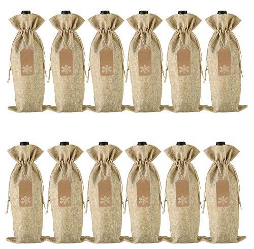 Sacchetti regalo in iuta con coulisse per bottiglie di vino, 12 pezzi, per Natale, matrimoni, viaggi, compleanni, feste. large Naturale
