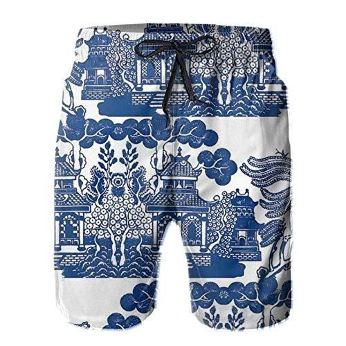 Herren Gemütliche Shorts Mode Strand Shorts mit elastischer Taille und Taschen Blau Pavillon Landschaft Malerei Gr. XL, mehrfarbig