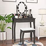 Makeup LED Lights Vanity Table, w/10 LED Lights Oval Mirror,Makeup Table with Oval Mirror & Stool, Wood Dressing Table with 4 Drawers Girls Women Bedroom Furniture (Black with Light)