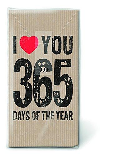 Bedruckte Taschentücher Love - Ich Liebe Dich 365 Tage Im Jahr