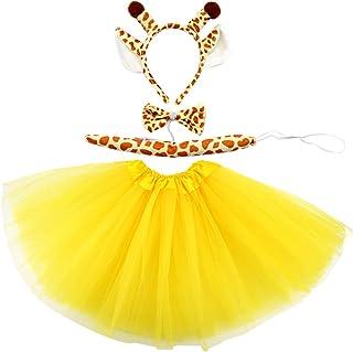 Marrywindix Yellow Giraffe Costume Tutu Set Animal Fancy Dress Costume Kit Halloween Party Dress Up Accessories for Kid