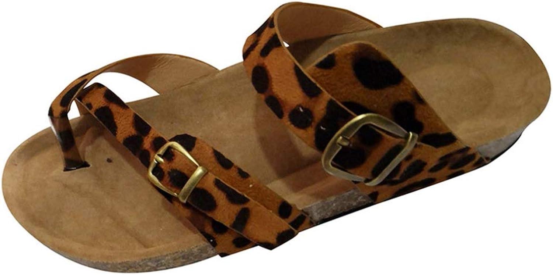 Hoxekle Woman's Retro Open Toe Leopard Print Flats Sandals Beach Buckle Strap Roman Summer Casual shoes