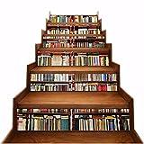 A.Monamour Pegatinas de Escalera Autoadhesivos 3D Biblioteca Estantería Estantería Llena De Libros Vinilo Impermeable Pegatinas de Pared Adhesivos Etiquetas Pegatinas de Baldosas DIY 6PCs