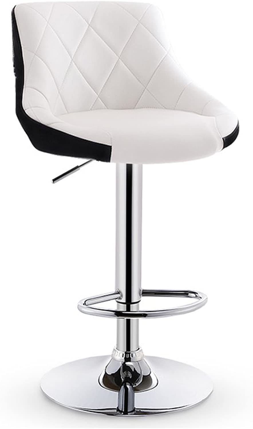 White Swivel Bar Chair with Leatherette Exterior and Backrest Kitchen Breakfast Bar Stools with Chromed Framework Lift Adjustable High Stool for Kitchens Soft Padded Chairs (Size   65CM)