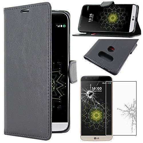 ebestStar - Cover Compatibile con LG G5 H850, G5 Dual, G5 SE, G5 Lite Custodia Portafoglio Pelle PU Protezione Libro Flip, Nero + Pellicola Vetro Temperato [Apparecchio: 149.4 x 73.9 x 7.7mm, 5.3  ]