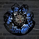 GVC CD LED Reloj de Pared The Rolling Stone Band Relojes Clásicos de Siete Colores Cambiar Diseño Moderno Disco de Vinilo Reloj de Pared Decoración del Hogar