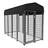 Nurxiovo Dog Pen Heavy Duty Dog Kennel Large Outdoor Pet Playpen House Galvanized Welded Steel Fence with UV Protection Waterproof Cover Roof 6' 4' 8', Black