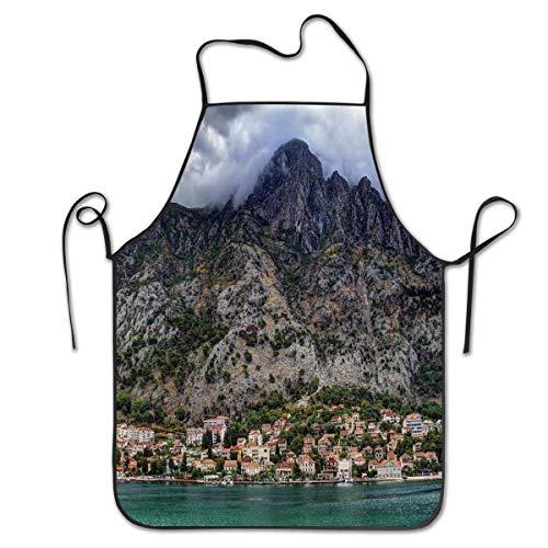 N\A Dobrota Montenegro Print Schürze Unisex Küchenlätzchenschürze mit verstellbarem Hals zum Kochen Backen Gartenarbeit