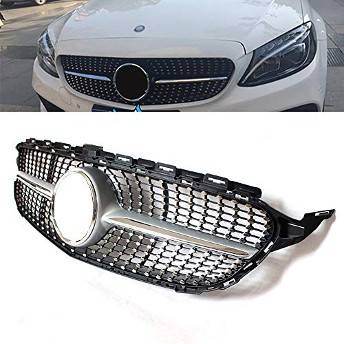 Parrilla Frontal para Mercedes-Benz Clase C de Cuatro Puertas W205 (2015 -), Rejilla Decorativa del Radiador del AutomóVil ABS para ModificacióN, Modelos Deportivos,Black-B