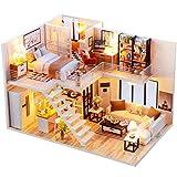NSWMHDQ Juguete- Modelo en Miniatura Casa de muñecas con Muebles, Bricolaje casa de muñecas Hecha a Mano Kit Mini Plus Duplex Inicio Modelo de Caja de Rompecabezas Juguetes for los niños Regalo