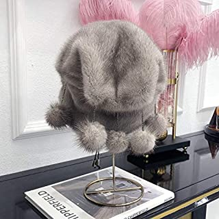 ZWJHMSDM The New Winter Elegant Ladies Mink hat Mink Balls Christmas Hats Bucket hat Christmas Old Man Plush hat (Color : Gray)