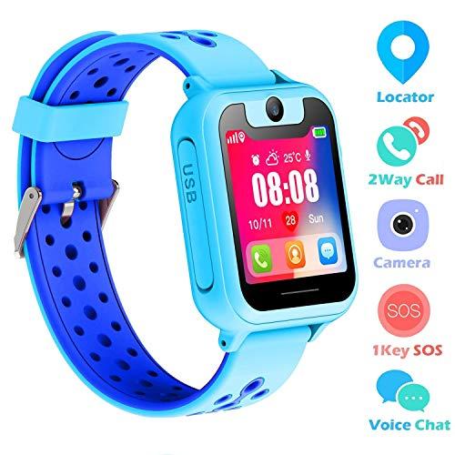 SZBXD Kids Smart Watch Phone, 1.44' GPS Tracker Smartwatch Touch Camera Games Flashlight SOS Alarm Clock Sports Wrist Watch Christmas Birthday Gifts for Girls Boys Children (Blue)