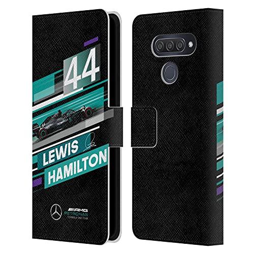 Head Case Designs Licenciado Oficialmente Mercedes-AMG Petronas F1 Team Rayas dinámicas de Coche Lewis Hamilton Carcasa de Cuero Tipo Libro Compatible con LG Q70