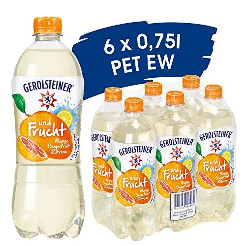 Gerolsteiner und Frucht Mango Grapefruit Zitrone/ Natürliches Mineralwasser mit wenig Kohlensäure und Mango-Grapefruit-Zitrone Geschmack / 6 x 0,75 L PET Einweg Flaschen