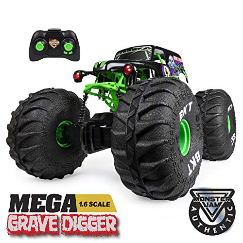 Monster Jam, Official Mega Grave Digger All-Terrain Remote Control Monster Truck with...