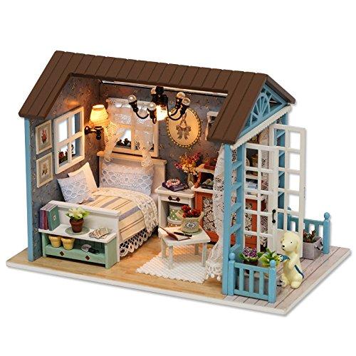 DearMentor DIY Handwerk LED Retro Style Holz Puppenhaus Miniatur Möbel Kit Spielzeug Puppenhaus Geschenk für Frauen und Mädchen (A)