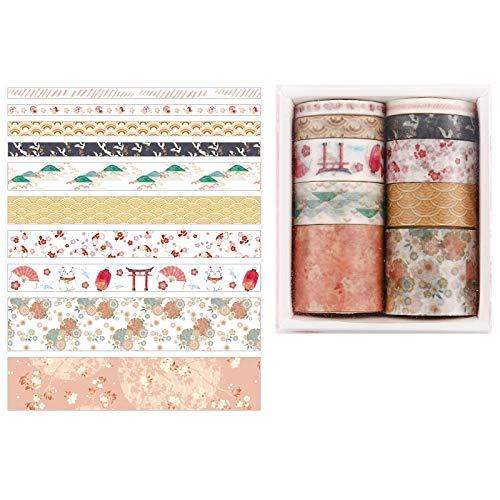 bobotron Juego de 10 piezas decorativas Kawaii Washi Tape Set de papel japonés pegatinas papel carta scrapbooking suministros H