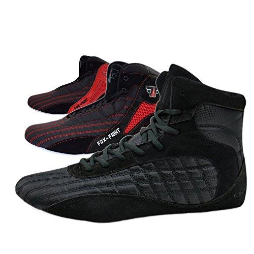 FOX-FIGHT Scarpe da arti marziali, per atletica, bodybuilding, Nero (nero/rosso), 42 EU