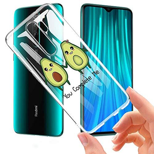 Pnakqil Funda Xiaomi Redmi Note 8 Pro Transparente Silicona Carcasa Ultrafina Suave Gel TPU Piel Bumper Antigolpes Protectora Case Cover Compatible con Xiaomi Redmi Note8 Pro, Aguacate 02