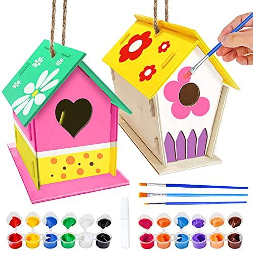 TaimeiMao Holz Vogelhaus Bausatz, 2 Stück DIY Kinder Holz Vogelhaus, Kinder Vogelhaus Bemalen Kit, Kunst hängendes Vogelhaus-Set, Enthalten 12 Farben, Malpalette und 3 Pinsel