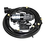 Outdoor Misting Cooling System with (12m) 40feet Mist Line, 12V 60W 5L/min Micro Washdown High Pressure Self Priming Diaphragm Pump for Caravan rv Boat Marine