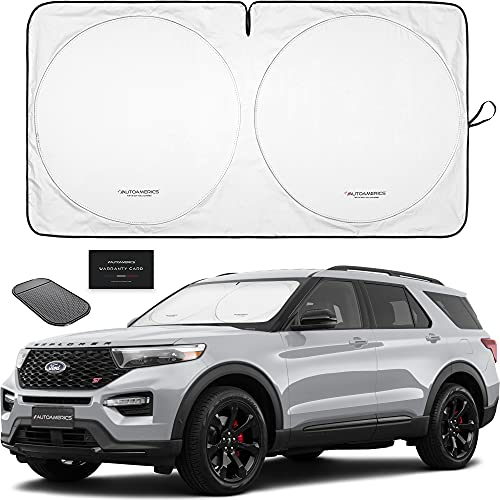 Autoamerics 1-Piece Windshield Sun Shade Foldable Car Front Window Sunshade for Bigger SUV Truck Vans - Auto Sun Shield Cover Visor Protector Blocks Max UV Rays and Keeps Your Vehicle Cool - Large Fit