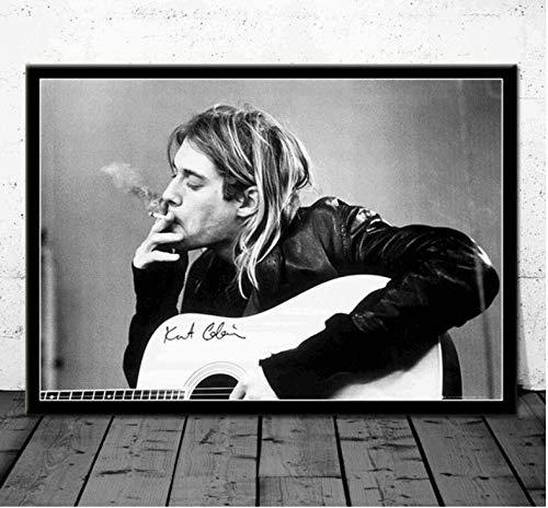 NVRENHUA Cartel de Arte Kurt Cobain Nirvana Band Cantante de música Carteles e Impresiones Cuadro de Pared Lienzo Pintura Habitación Decoración del hogar 50 * 70 cm sin Marco