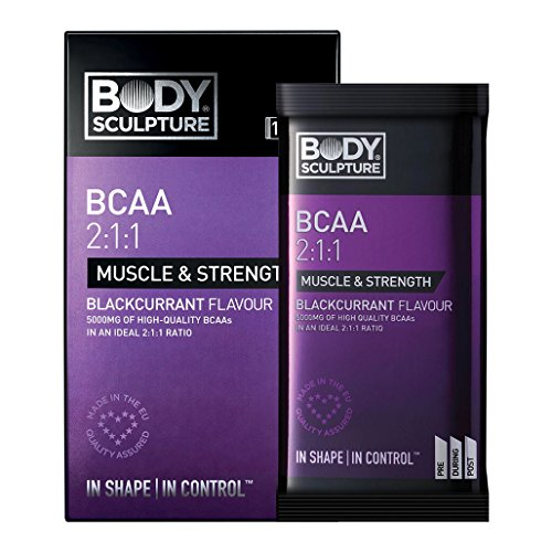 BCAA 2: 1:1 5000 mg Aminos 10 x 6 g poeder portiezak vertakt aminozuren L-Leucin L-Isoleucin L-Valin voedingssupplement spieropbouw