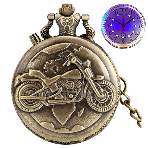 IOPMIE Pocket Watch Luminous LED Display Quartz Pocket Watch Chain Carved Analog Motorcycle Motorbike Light Watch Clock Gifts for Men Women,Bronze with LED