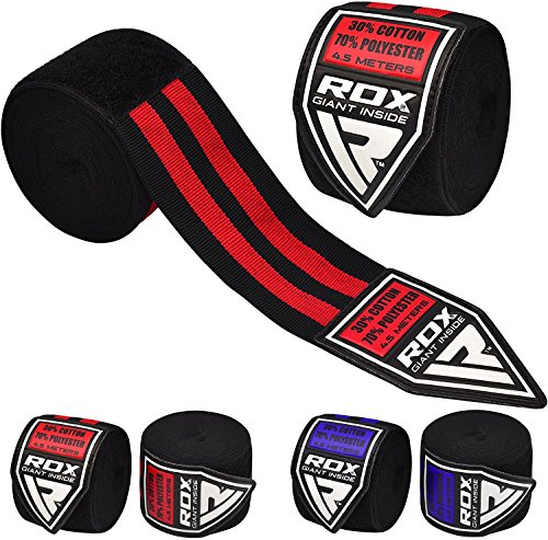 RDX Fasce Boxe Bende per Mani Elastico Polsi Pugilato Bendaggi 4,5 Metri Sottoguanti MMA Guanti Interi