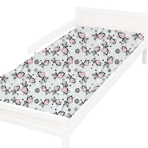 Cebra - Pati'Chou 100% Algodón Sábana bajera ajustable Diseño Animales para cama infantil 70 x 160 cm