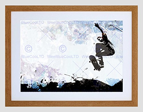 Wee Blue Coo Skateboarden Grunge Vector Silhouette Foto Ingelijst Muur Art Print