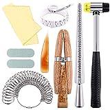 Juego de herramientas de calibre de anillo de joyería de 12 piezas, mandril de anillo, calibrador de anillo, abrazadera de anillo de madera, martillo de goma, calibrador de anillo de plástico, paño d
