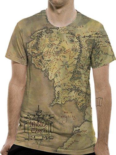 Herr der Ringe Premium T-Shirt Middle Earth Map, Mittelerde (L)
