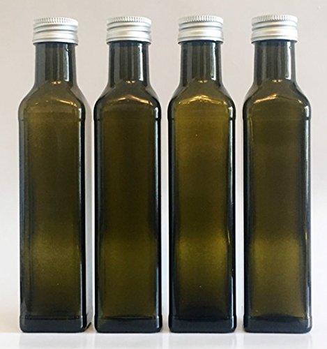 12 leere Glasflaschen GRÜN Maraska 500 ml incl. Schraubverschluss Eckig zum selbst Abfüllen Likörflasche Schnapsflasche Silber