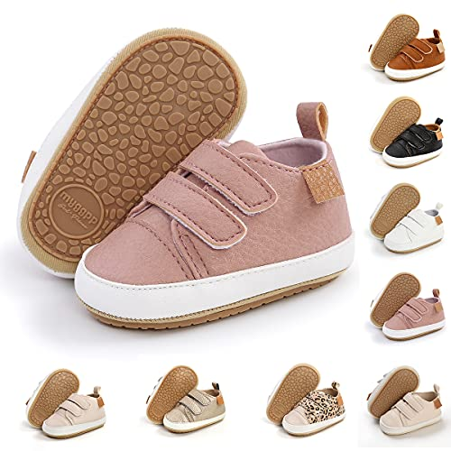 TAREYKA Infant Baby Boys Girls' Sneakers Soft Anti-Slip Soft Sole Newborn Toddler Baby First Walker Outdoor Shoes Crib Shoes(6-12 Months Infant A/Pink)