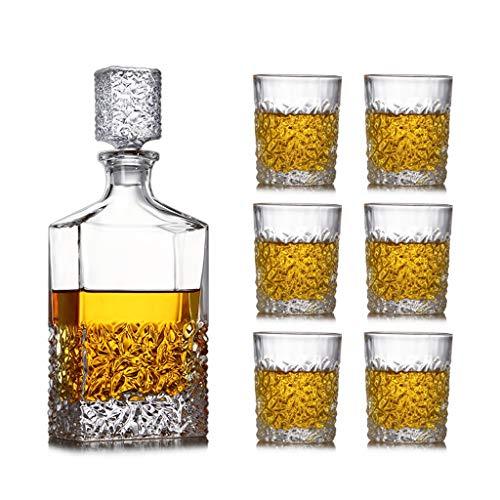 Zcxbhd Juego 7 Piezas, JarraVino Grande, Jarra Bar Y 6 Copas Whisky...