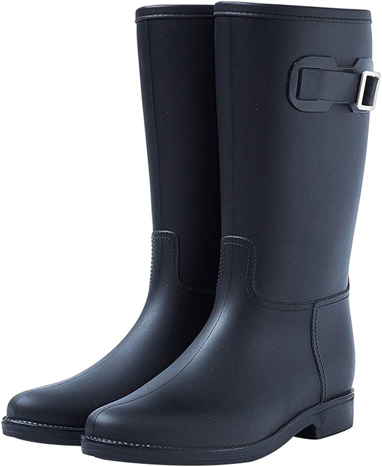 Bvilage Simple Rain shoes Women Adult Rubber Skid-Proof Flat Heeled Water Boots