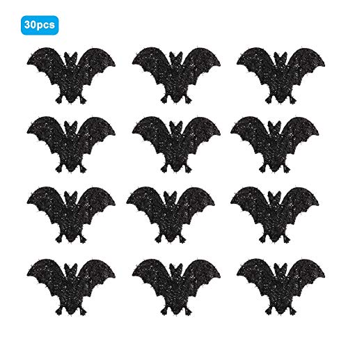 HEEPDD Halloween Patch, 30 Stks 10 cm Non-Woven Stof Zwarte Bat Applique Decoratie voor Huis Halloween Kostuum Party Versiering Cosplay