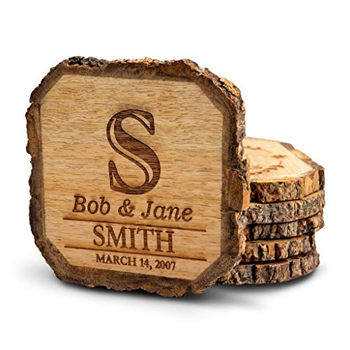 Wooden Rustic Farmhouse Coasters Set of Wood Coasters Personalized 4 Pack
