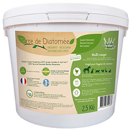l'herbe Haute ® Terre de Diatomée Blanche Alimentaire - 2,5 kg Seau - Utilisable en Agriculture Biologique - Origine Naturelle sans Transformation Chimique - Nombreux usages