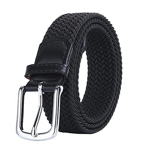 AGEA Elastic Stretch Braided Waist Belt for Men Women (Black, Waist 40'-43')