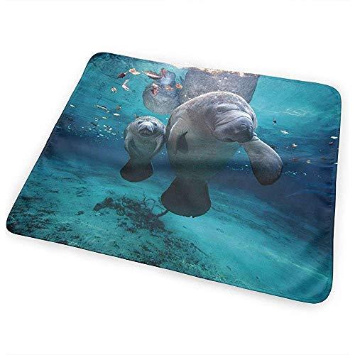 Baby Change Mat,Ocen Life Under Water Manatee À Langer Tapis À Langer Portable Imperméable Pour Bébés Garçons Filles 65 * 80Cm