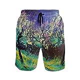 FANTAZIO - Pantalones Cortos de Playa con cordón para Pintar al óleo, Paisaje y Primavera 1 M