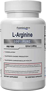 Superior Labs – Pure L-Arginine – Free Form – Optimal 3,000mg Dosage – 150 Vegetable Capsules – Supports Vasodilation, Ene...