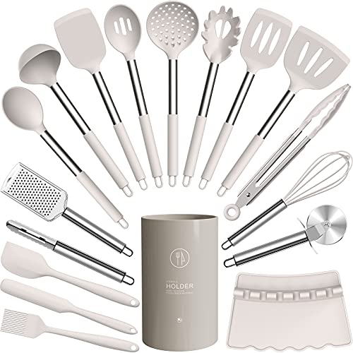 Silicone Cooking Utensils Set - Heat Resistant Kitchen Utensils,Turner Tongs,Spatula,Spoon,Brush,Whisk,Pizza Cutter,Graters.Gadgets. Cooking Utensil for Nonstick Cookware.Dishwasher Safe - Khaki