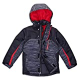 Arctic Quest Boys Spacedye Windproof Waterproof Insulated Hooded Winter Snow and Ski Jacket with Zippered Pockets, Black & Red, 7/8