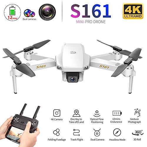 Goolsky CSJ S161 Mini Pro Drohne Drohne mit Kamera 4K Höhe Halten Follow Me Gestenfotos Video Track Flug RC Quadcopter Aufbewahrungstasche 1 Batterien