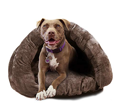 Birdsong The Original Cuddle Pouch Pet Bed (Large), Dog Cave, Covered Hooded Pet Bed, Cosy, for Burrower Cats and Dogs, Brown