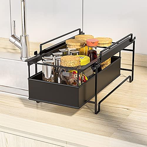YunNasi Un cajón Organizador Debajo del Fregadero Caja Bajo Fregadero Estantería de Almacenaje Especiero Joyero Estante con Extraíble Estante (Negro, 20x34x16cm)